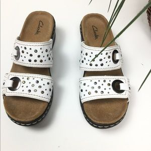 WHITE CLARKS SANDALS  LEATHER UPPER